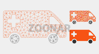 Emergency Van Vector Mesh 2D Model and Triangle Mosaic Icon