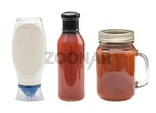 sauce bottles isolated on white background