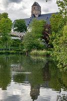 Castle pond with church of Chemnitz