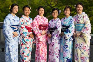 Japanese Women Dressed in Kimono