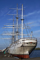 Museum ship Gorch Fock I in the harbor of the Hanseatic city of Stralsund