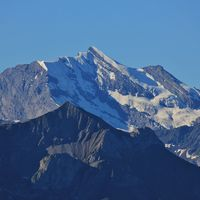 Mount Doldenhorn. View from Mount Niederhorn. Mountain in the Bernese Oberland, Switzerland.