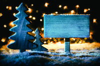 Christmas Tree, Snow, Copy Space, Sign At Night