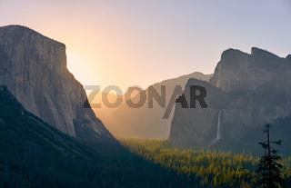 Yosemite National Park Valley at sunrise
