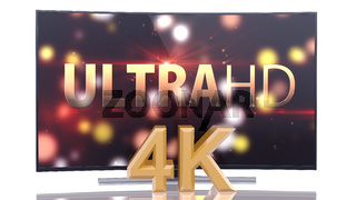 UltraHD Smart Tv with Curved Screen on White