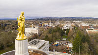 The Golden Woodcutter Oregon Pioneer atop Capital Building Salem