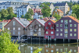 Old Warehouses On The River Trondheim Norway