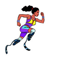 disabled African woman runner with leg prostheses running forward. sports competition
