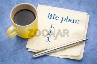 Life plan concept or list