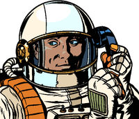 serious astronaut talking on a retro phone. isolate on white background