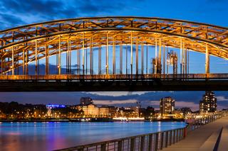 Illuminated Hohenzollern Bridge in Cologne