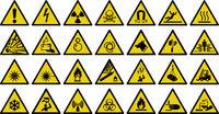 warning sign vector sign - Set of triangle yellow warning sign. Vector, illustration