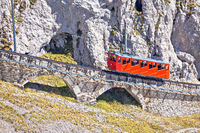 Mount Pilatus ascent on worlds steepest cogwheel railway