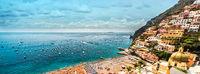 Panoramic image Amalfi coast. Positano, Italy