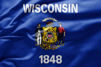 Waving state flag of Wisconsin - United States of America