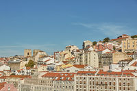 View of traditional architecture and houses on Sao Jorge hill in Lisbon, Portugal.