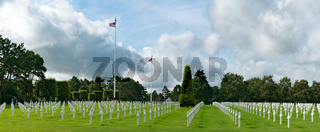 panorama view of the American Cemetery at Omaha Beach in Normandy with American flags flying high
