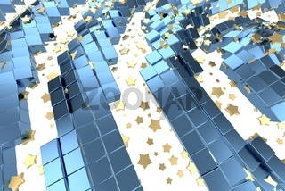 Gold or platinum stars flying over white background and blue box matrix space. Modeling 3d illustration. wealth rich mining bitcoin concept . Money growing business finance success clipart