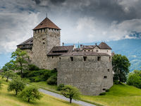 Vaduz, FL / Liechtenstein - 16 June 2019: A view of the historic Vaduz Castle in the capital of the