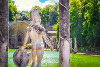 Canopo of Villa Adriana in Tivoli - Lazio - Italy the back of a statue with helmet and shield