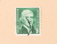 UNITED STATES OF AMERICA - CIRCA 1960: A stamp printed in the USA shows the president Thoman Jefferson, circa 1960
