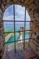View from the castello Scaligero at the old part of Sirmione at lake Garda Brescia, Lombardy, Italy