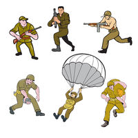 World War Two Soldier Cartoon Set