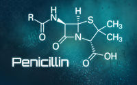 Chemical formula of Penicillin on a futuristic background