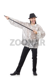 Performer in shiny costume isolated on white