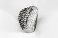 White Gold Ring With White And Black Diamonds
