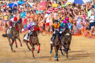Horse race on Sanlucar of Barrameda, Spain, 2016