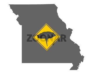 Karte von Missouri mit Verkehrsschild Tornadowarnung - Map of Missouri and traffic sign tornado warning
