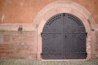 Studded iron door church