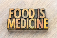 food is medicine text in wood type