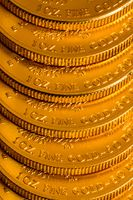 Stack of US Treasury Gold Eagle one ounce coins