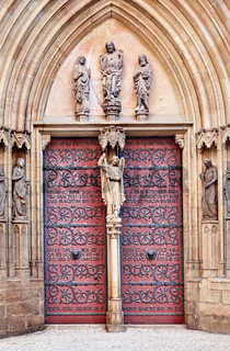 Entrance door to Erfurt Cathedral of St. Mary in Thuringia