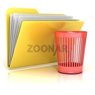 Empty red recycle bin folder icon, 3D