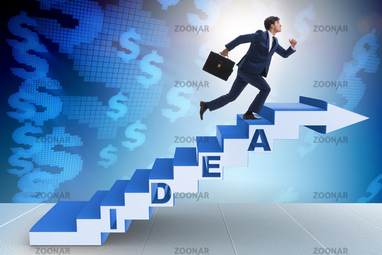 photo concept of idea with businessman climbing steps stairs image