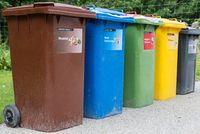 Waste separation system with different colored waste bins - recycling