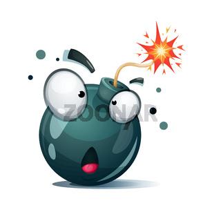 Cartoon bomb, fuse, wick, spark icon. Surprise smiley.