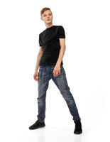 Man wearing black t-shirt. Isolated on white