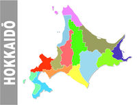 Colorful administrative and political vector map of japanese prefecture Hokkaido
