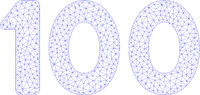 100 Digits Text Polygonal Frame Vector Mesh Illustration