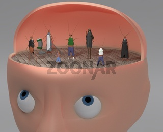 3d illustration of person with other faces like cockroach inside for inner voices and multiply personalities concept