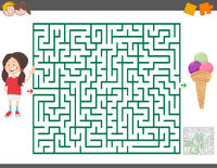 maze game with cartoon girl and ice cream