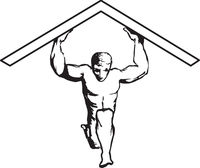 Man Holding Up Roof Vector