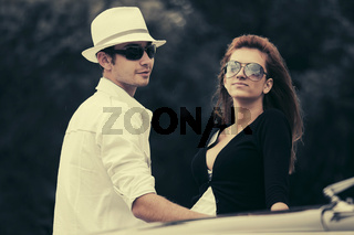 Happy young fashion couple in love outdoor