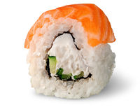 Single piece of sushi roll of Philadelphia rotated