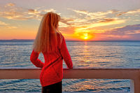 A woman at the sunrise