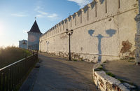 South stone defensive wall and South-eastern round tower of Tobolsk Kremlin. Tobolsk. Russia